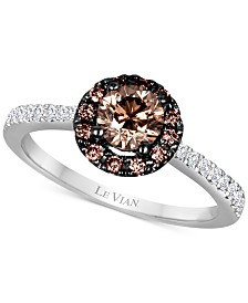 Le Vian Chocolatier® Diamond Cluster Ring (9/10 ct. t.w.) in 14k White Gold