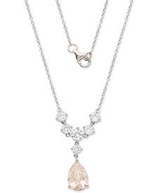 "Giani Bernini Cubic Zirconia Teardrop 18"" Pendant Necklace in Sterling Silver, Created for Macy's"