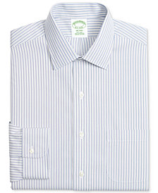 Brooks Brothers Men's Milano Classic/Regular Fit Non-Iron Pinpoint Gray Blue Strip Dress Shirt
