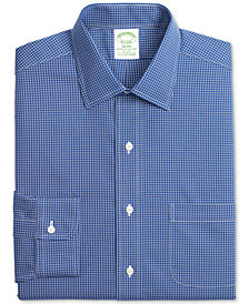 Brooks Brothers Men's Milano Extra-Slim Fit Non-Iron Stretch Pinpoint Blue Grid Dress Shirt