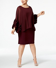 Plus Size Chiffon-Rosette Popover Dress