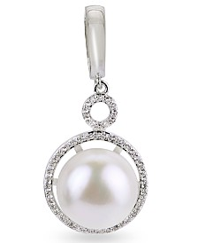 White Cultured Freshwater Pearl and White Topaz Enhancer in Sterling Silver