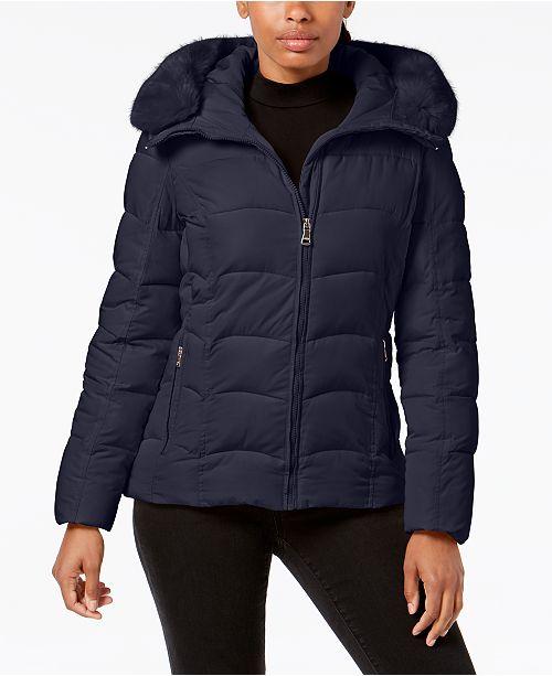 853c95fb7e4fe Calvin Klein Petite Faux-Fur-Trim Hooded Puffer Coat   Reviews ...