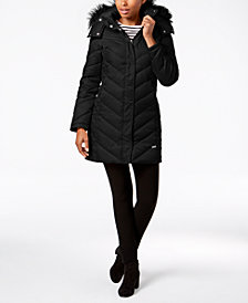 Kenneth Cole Petite Faux-Fur-Trim Hooded Puffer Coat