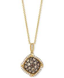 "Chocolatier® Diamond Cluster 18"" Pendant Necklace (5/8 ct. t.w.) in 14k Gold"