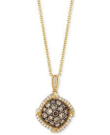 "Le Vian Chocolatier® Diamond Cluster 18"" Pendant Necklace (5/8 ct. t.w.) in 14k Gold"