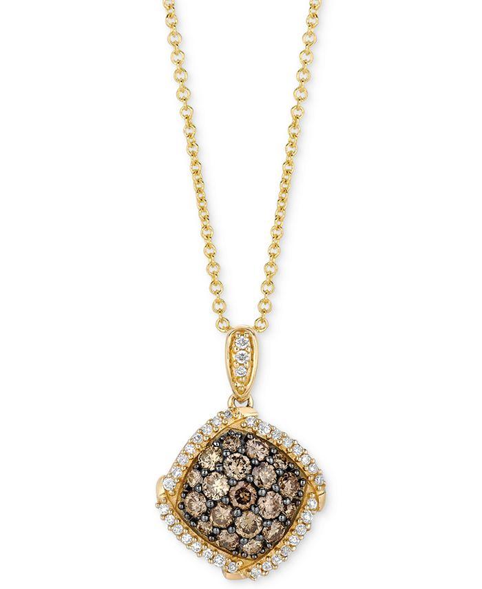"Le Vian - Diamond Cluster 18"" Pendant Necklace (5/8 ct. t.w.) in 14k Gold"