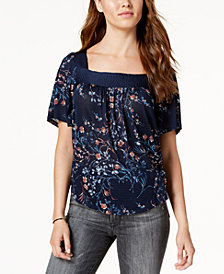 Lucky Brand Printed Square-Neck Top