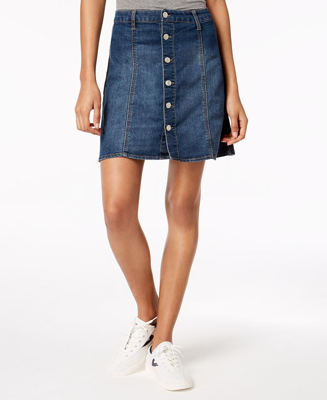 Tinseltown Juniors' Button-Front Denim Skirt