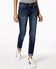 Indigo Rein Juniors' Distressed Cuffed Skinny Jeans