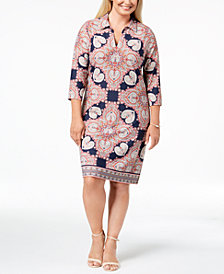 Charter Club Plus Size Medallion-Print Shift Dress, Created for Macy's