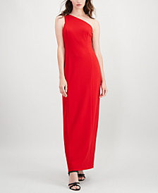 Calvin Klein Slit One-Shoulder Gown