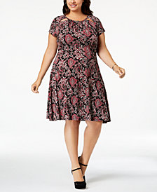 MICHAEL Michael Kors Plus Size Printed Fit & Flare Dress