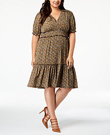 MICHAEL Michael Kors Plus Size Printed Peasant Dress