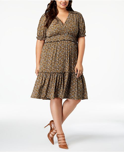 Michael Kors Plus Size Printed Peasant Dress Dresses Plus Sizes
