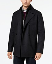 0e0904bef1b88 Kenneth Cole Men's Double Breasted Wool Blend Peacoat with Bib