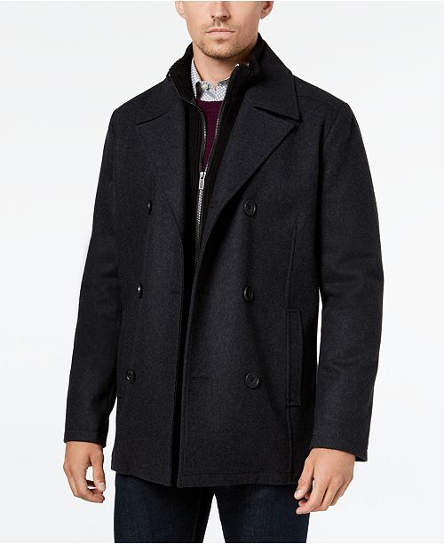 124c6947301 Kenneth Cole Men s Double Breasted Wool Blend Peacoat with Bib ...