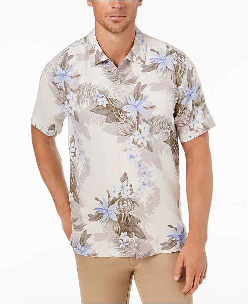 bef89b9e76 Tommy Bahama Men s Shadow O  Lei Silk Hawaiian Camp Shirt ...