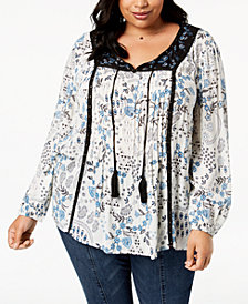 Style & Co Plus Size Mixed-Print Pleated-Front Grommet Peasant Top, Created for Macy's