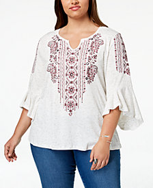 Style & Co Plus Size Embroidered Angel-Sleeve Top, Created for Macy's