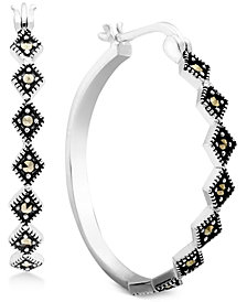 Marcasite Medium Patterned Hoop Earrings in Fine Silver-Plate