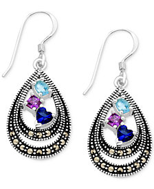 Cubic Zirconia & Marcasite Double Teardrop Drop Earrings in Fine Silver-Plate