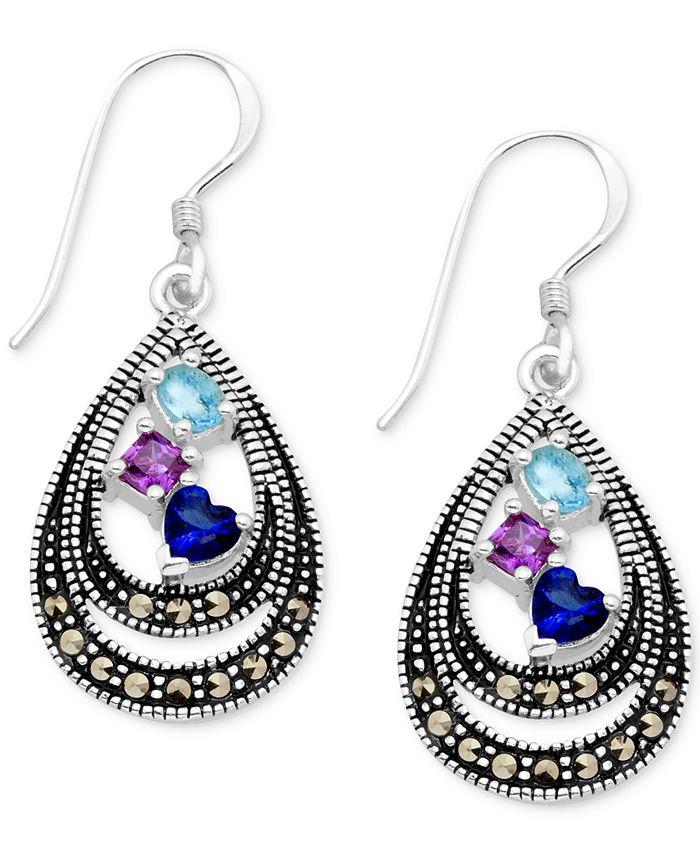 Macy's - Cubic Zirconia & Marcasite Double Teardrop Drop Earrings in Fine Silver-Plate