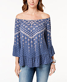 Style & Co Petite Printed Flounce-Trim Peasant Top, Created for Macy's