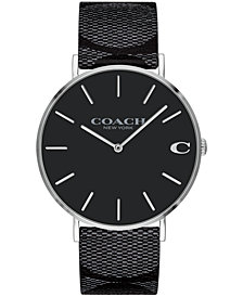 COACH Men's Charles Created for Macy's Black Signature Canvas Strap Watch 41mm