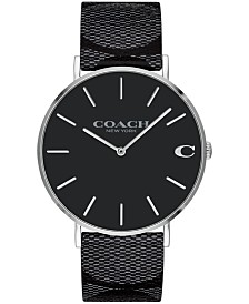 COACH Men's Charles Black Signature calfskin leather Strap Watch 41mm, Created for Macy's