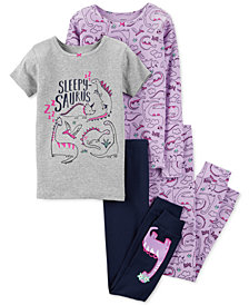 Carter's Little & Big Girls 4-Pc. Snug-Fit Dino Cotton Pajama Set