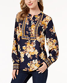 Charter Club Petite Floral-Print Button-Neck Top, Created for Macy's
