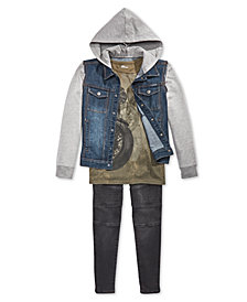 Epic Threads Big Boys Graphic-Print T-Shirt, Denim Jacket & Drawstring Jeans Separates, Created for Macy's