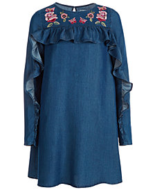 Epic Threads Big Girls Embroidered Ruffle Shift Dress, Created for Macy's