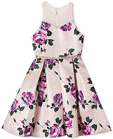 Rare Editions Big Girls Brocade Floral-Print Illusion-Neck Dress