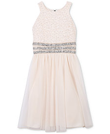 Speechless Glitter Lace Bodice Dress, Big Girls