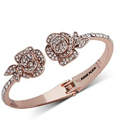 Anne Klein Rose Gold-Tone Crystal Flower Cuff Bracelet, Created for Macy's