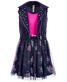 Beautees Big Girls 2-Pc. Moto Vest & Dress Set