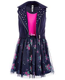 Beautees Big Girls 2-Pc. Moto Vest & Dress Set