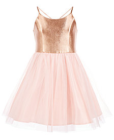 Pink & Violet Big Girls Metallic Ballerina Party Dress