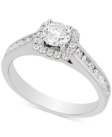 Diamond Channel Set Halo Engagement Ring (1 ct. t.w.) in 14k White Gold