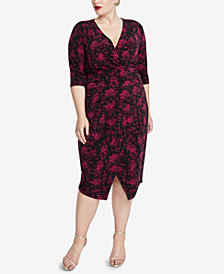 RACHEL Rachel Roy Trendy Plus Size Printed Wrap Dress