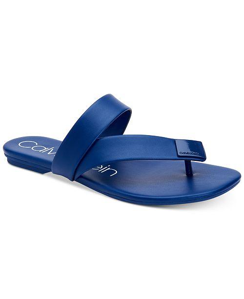 d4f4cae0cfccc Calvin Klein Women s Saurin Flat Sandals   Reviews - Sandals   Flip ...