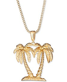 "Men's Palm Tree 24"" Pendant Necklace in 18k Gold-Plated Sterling Silver"