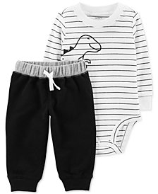Carter's Baby Boys 2-Pc. Cotton Striped Dinosaur-Print Bodysuit & Jogger Pants Set
