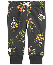 Carter's Baby Girls Floral-Print Fleece Jogger Pants