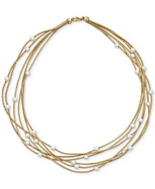 """Cultured Freshwater Pearl (5-1/2mm) Multi-Row 18"""" Statement Necklace in 14k Gold-Plated Sterling Silver"""