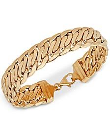 Wide Fancy Link Chain Bracelet in 14k Gold