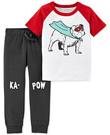 Carter's Toddler Boys 2-Pc. Cotton Dog-Print T-Shirt & Jogger Pants Set