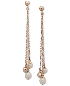 Lauren Ralph Lauren Gold-Tone & Imitation Pearl Bead Linear Drop Earrings